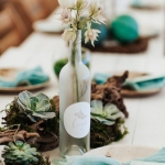 frosted glass table name bottles