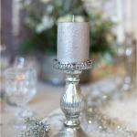 silver candle holder & lace runner