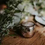 Distressed silver tea light holder
