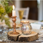 Tree Trunk mat/silver tea light holder